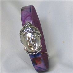 Unique floral leather bracelet with a Buddha Clasp. Something different to hi-lite you wrist this summer