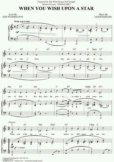 "1940 Academy Award winning Song of the Year - From ""Pinocchio"" Music: Leigh Harline_Lyrics: Ned Washington From Play a Simple Melody Board Disney Sheet Music, Flute Sheet Music, Violin Music, Disney Songs, Music Sheets, Cello, Partituras Trombone, Clarinet, Music Lyrics"