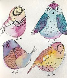 Créations CeeCee is creating watercolor paintings, acrylic paintings, drawings Bird Drawings, Doodle Drawings, Doodle Art, Drawing Birds, Animal Drawings, Watercolor And Ink, Watercolor Paintings, Watercolor Techniques, Simple Watercolor