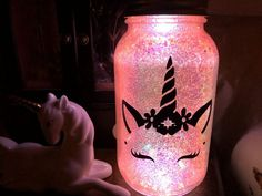 This beautiful glittery mason jar with a battery operated light is perfect for a magical soft unicorn glow. Unicorn lovers will be head over heels with this mason jar turned Unicorn Jar. Mason Jar Projects, Mason Jar Crafts, Mason Jar Diy, Diy Hanging Shelves, Floating Shelves Diy, Diy Home Decor Projects, Diy Projects To Try, Craft Projects, Glow Jars