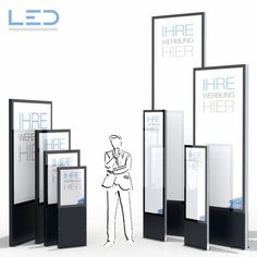 LED Pylone Slimline 2 x Hoch, Firmenbeschriftung Recycling, Led Lampe, Totems, Aluminium, Divider, Floor Plans, Stele, Room, Corona