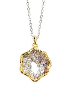 Yellow Gold & Silver Crystal Clam Pendant Necklace by Amabel Designs #zulily #zulilyfinds