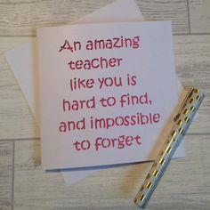 teacher card, card for teacher, teacher appreciation, thank you teacher, thanks teacher, amazing teacher, best teacher card, school card, by TheCoverGirlmummy on Etsy