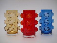 """ERKKITAPIO SIIROINEN - Glass vases """"Pablo"""" for Riihimäen Lasi Oy 1971, Finland."""