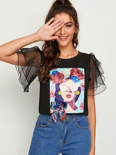 To find out about the Contrast Mesh Sleeve Figure Print Tee at SHEIN, part of our latest T-Shirts ready to shop online today! Casual Outfits, Fashion Outfits, Womens Fashion, Summer Deco, Diy Clothes, Clothes For Women, Latest T Shirt, Printed Tees, Refashion