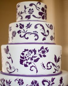 purple painted wedding cake