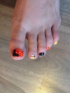 Mickey Mouse pedicure nail art halloween inspired!  Candy corn! Nail Design, Nail Art, Nail Salon, Irvine, Newport Beach