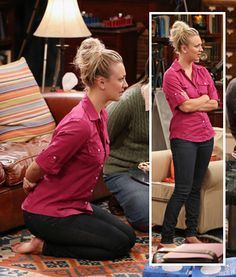 Penny's pink button front shirt, black jeans and pink flats on The Big Bang Theory.  Outfit details: http://wornontv.net/6195/