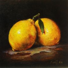 Lemons Original Oil Painting by Nina R.Aide Still Life Oil on Wood board 6x6 Fine Art Fruit