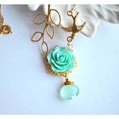Blue Lariat Cabochon Flower Teal in a Leaf Branch Gold Necklace 14k... ($30) ❤ liked on Polyvore