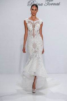 Pnina tornai for kleinfeld fall 2017 kleinfeld wedding dresses bateau fit and flare wedding dress with natural waist in lace bridal gown style number junglespirit Choice Image
