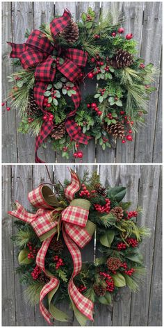35 Festive Christmas Wall Decor Ideas that will Instantly Get You into the Holiday Spirit - The Trending House Christmas Wreaths For Front Door, Country Christmas Decorations, Holiday Wreaths, Rustic Christmas, Christmas Crafts, Christmas Christmas, Winter Wreaths, Elegant Christmas, Flowers For Christmas
