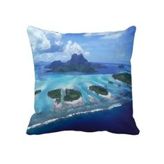 Unique, trendy, fashionable and decorative beach and tropical summer themed throw pillow. With pretty painting of the exotic Bora Bora lagoon and islands. Beautiful use of blue and ocean turquoise colors. Cute and fun gift for mom's or dad's birthday, Mother's or Father's day, or Christmas. Great for decorating the master or kid's bedroom, nursery, dining, living or family room, beach or vacation house, cottage or cabin, or office with.