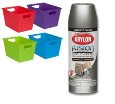 Use Krylon Fusion Spray Paint, For Plastic, To Change Dollar Store Bins To Any Color You Want