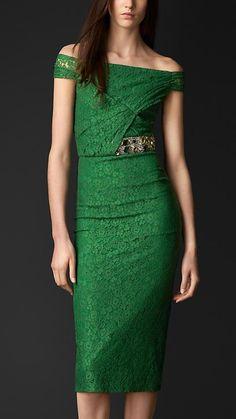 Burberry Prorsum Gem Embellished  Lace Dress