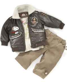 Nannette Baby Jacket, Tee and Corduroys Set, Boys Snoopy Bomber