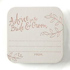 Our square-shaped ADVICE FOR THE BRIDE AND GROOM coasters are the perfect addition to any wedding reception and are a great keepsake for years to come!