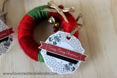 Christmas Gift Tags - Love Create Celebrate. Made using CTMH Merry Merry stamp and supplies! Put them on our Yarn Wreath Ornament Party Favors :) #party #favor #Christmas #hostess #guest #gift #present #homemade #ctmh