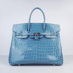 Hermes Birkin Bag 35 Medium Crocodile Silver Hardware (Turquoise) via Polyvore