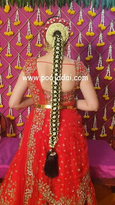Pelli poola jada Indian bridal and wedding Accessories. South Indian Wedding Hairstyles, Bridal Hairstyle Indian Wedding, Bridal Hairdo, Saree Hairstyles, Bride Hairstyles, Half Saree Function, Bridal Sarees South Indian, Flower Garland Wedding, Wedding Saree Collection