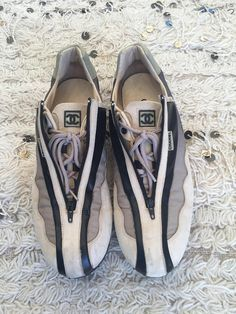 fe90074ba6c9 Vintage CHANEL CC Monogram Logos Ombre Black Leather Sneakers Trainers Tennis  shoes eu 39 us 8 - 8.5