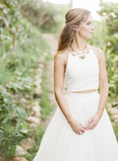 wedding dress separates - photo by Lisa Blume Photography http://ruffledblog.com/destination-wedding-in-a-puerto-rican-rainforest
