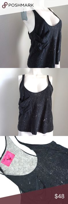 """🎬 Distressed Low Cut Gray Tank W/ Pocket Cute distressed gray tank with a grungy vibe. Has one pocket in the front. Purchased from Warner Brothers costume dept. Size & Garment care tag was taken out by costume dept. May have been worn in PLL. Measurements: Armpit to armpit: 16"""", Length: 22"""". You would need to wear a bralette or bandeau underneath with this tank. # 7071705 Born Famous Couture Tops Tank Tops"""