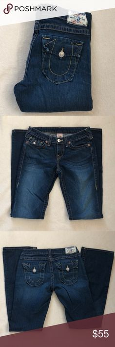 """True Religion Jeans True Religion """"Becky"""" jeans in excellent condition! Very minimal wear to bottoms. Waist across: 15"""" Rise: 8"""" Inseam: 33"""" True Religion Jeans Boot Cut"""