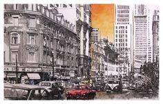 São Paulo, avenida São João, c. 1960, pintura Marco Angeli, 2011