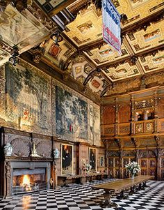 Hatfield House - Marble Hall, carved ceilings, fireplace, tapessaries, paintings