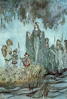 """Sabrina rises, attended by water Nymphs. """"Comus"""" (1921) illustrated by Arthur Rackham"""