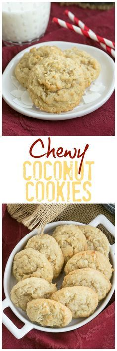 Chewy Coconut Cookies | Buttery cookies chock full of coconut! @lizzydo