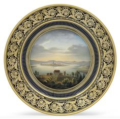 A SEVRES (LOUIS-PHILIPPE) PORCELAIN COBALT-BLUE GROUND TOPOGRAPHICAL PLATE OF FINLAND | BLUE STENCILED CIRCULAR SEVRES AND STAR MARK FOR 1832, GREEN DECORATING DATE 26. AT. 28 S. FOR 26 AUGUST 1828 , GILDER'S AB. MONOGRAM AND INCISED C, 26-8 | Christie's