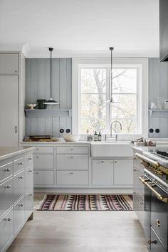 Beautiful pale blue grey kitchen - love it! Swedish Kitchen, Scandinavian Kitchen, Scandinavian