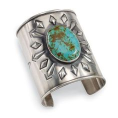 Bohemian jewellery ~ sterling silver Native American cuff with turquoise
