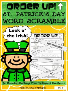 Your students will have to use their word skills as they work to unscramble this St. Patrick's Day word scramble!