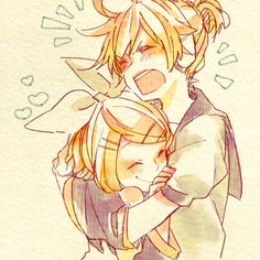 """Len:*squuzing Rin* """"I'm giving you a big hug now because I won't be able to hug you for a month"""""""