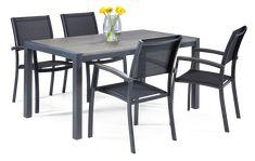 Alumiinirunkoinen pöytä, jonka kansi säänkestävää Durawoodia®. Pöydän koko 158 x 88 cm. Alumiinirunkoiset...