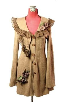 """""""Mary Shelley"""" tan cardigan sweater with flower accents & lace trim from Victorian Trading Co."""
