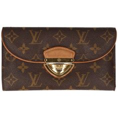Pre-owned Eugenie Monogram Canvas ($595) ❤ liked on Polyvore featuring bags, wallets, brown, preowned bags, monogram wallet, pre owned bags, flat bags and monogram canvas bag