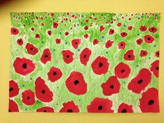 "My 2nd graders created a Field of Poppies. They used tempera paint for the poppies and watercolor for the grass and colorerd pencils for the implies texture: grass. I had them use a q-tip to place the little ""button"" flowers. They had to tint two colors of their choice. We've had many compliments on them."