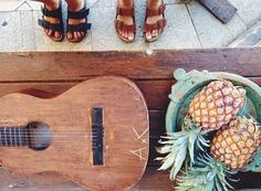 Music and food pineapples and guitar ukulele island life
