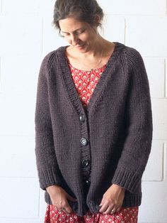 A cozy, seamless cardigan, Lulea is knit in one piece from the bottom up to the armholes. Sleeves are knit and joined, with raglan shaping worked to finish the yoke.