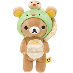 Rilakkuma brown plush bear with snake and wallet