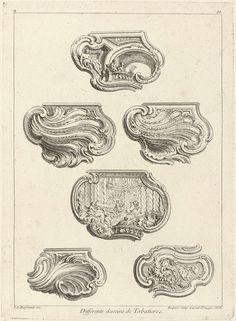 Huitième Livre de l'Oeuvre (de Meissonnier): Differents Desseinsde Tabatières., Juste Aurèle Meissonnier, Gabriel Huquier, Gabriel Huquier, 1725