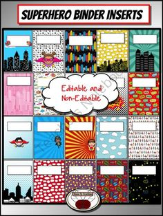 Superhero Binder Covers from House Fly Creations on TeachersNotebook.com - (38 pages) - Title pages to organize your records.