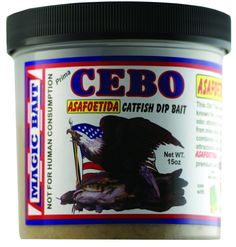 Cebo Dip Bait -made with very strong catfish attractants. This Cebo is loaded with rich cheese and real Asafoetida.