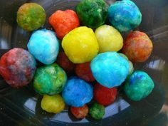Bouncy Balls  Borax  Elmer's Glue (clear or opaque)  Food Coloring  Craft sticks  Pour 1 T glue into a small container.  Add a couple drops of food coloring and mix.  Add 1 t Borax.  Wait fifteen seconds.  Mix with a craft stick until too thick to stir anymore.   Knead and roll the ball in your hands.  It will be sticky at first, but eventually will turn rubbery and dry.   5.  Bounce!