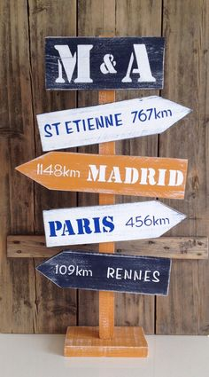 Panneau de direction sur pied personnalisable avec flèches en bois de palette