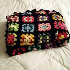 Vintage Black Handmade Granny Square Afghan Crochet Blanket 58 x 79 Multi Color #Handmade #Hippie